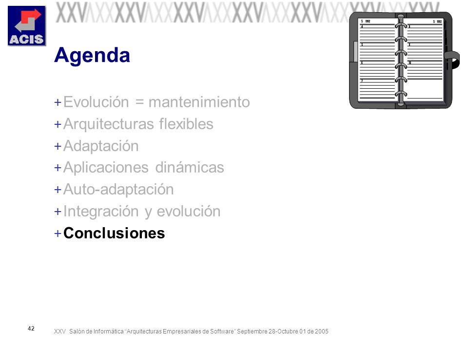 XXV Salón de Informática Arquitecturas Empresariales de Software Septiembre 28-Octubre 01 de 2005 42 Agenda + Evolución = mantenimiento + Arquitecturas flexibles + Adaptación + Aplicaciones dinámicas + Auto-adaptación + Integración y evolución + Conclusiones