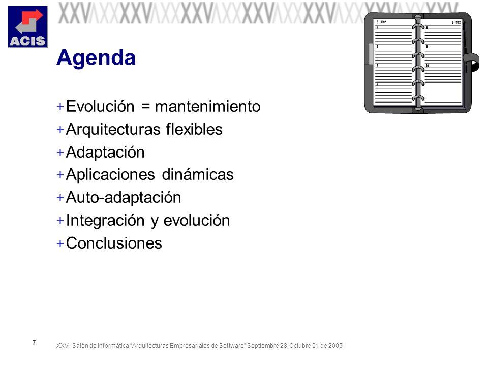 XXV Salón de Informática Arquitecturas Empresariales de Software Septiembre 28-Octubre 01 de 2005 7 Agenda + Evolución = mantenimiento + Arquitecturas flexibles + Adaptación + Aplicaciones dinámicas + Auto-adaptación + Integración y evolución + Conclusiones