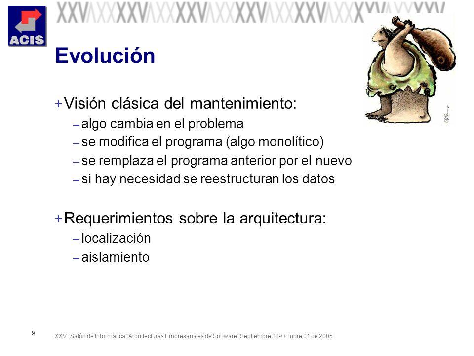 XXV Salón de Informática Arquitecturas Empresariales de Software Septiembre 28-Octubre 01 de 2005 9 Evolución + Visión clásica del mantenimiento: – al