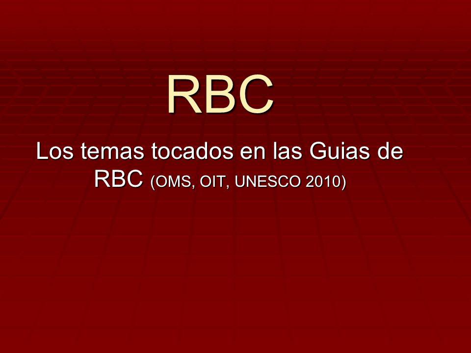 RBC Los temas tocados en las Guias de RBC (OMS, OIT, UNESCO 2010)