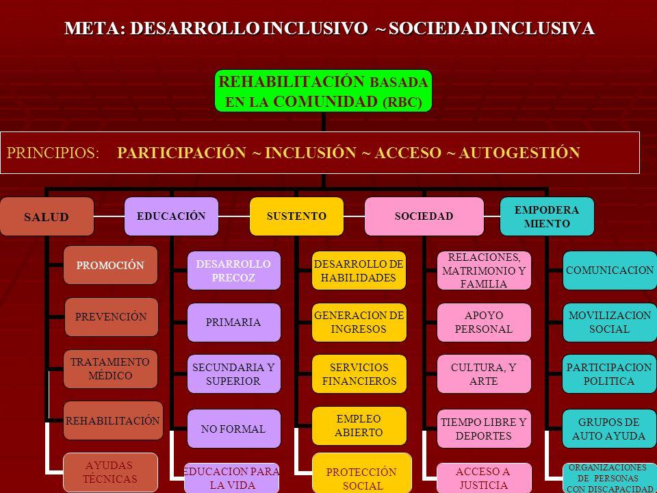 META: DESARROLLO INCLUSIVO ~ SOCIEDAD INCLUSIVA PRINCIPIOS: PARTICIPACIÓN ~ INCLUSIÓN ~ ACCESO ~ AUTOGESTIÓN