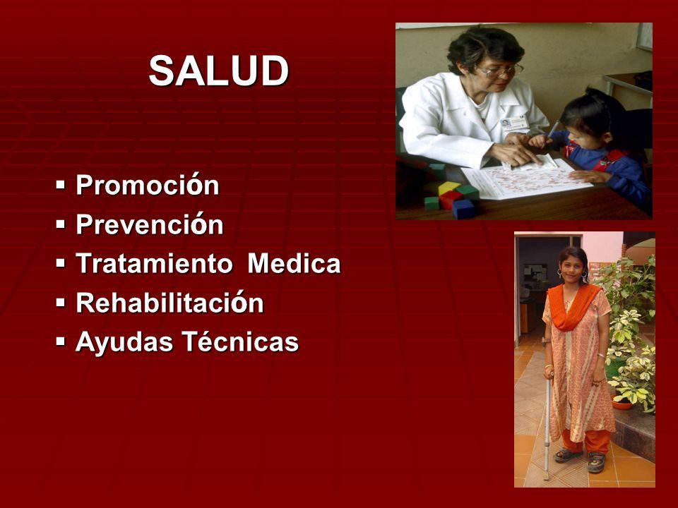 Promoci ó n Promoci ó n Prevenci ó n Prevenci ó n Tratamiento Medica Tratamiento Medica Rehabilitaci ó n Rehabilitaci ó n Ayudas Técnicas Ayudas Técni