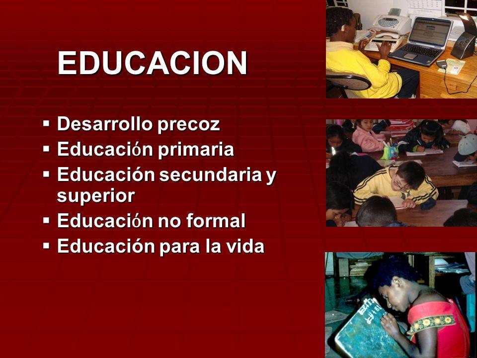 EDUCACION Desarrollo precoz Educaci n primaria Educación secundaria y superior Educaci n no formal Educación para la vida