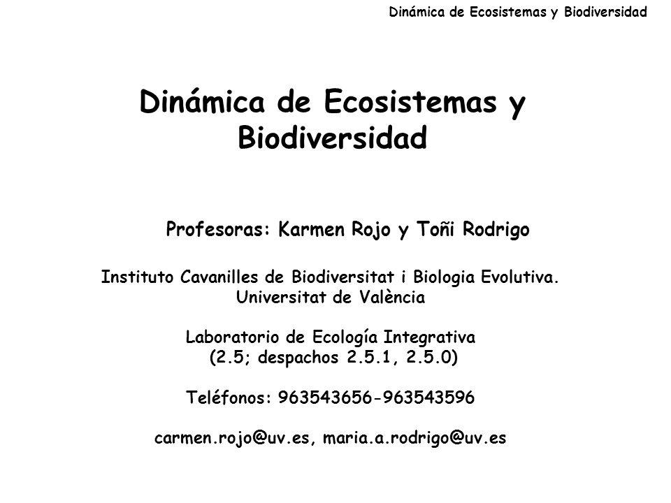 Dinámica de Ecosistemas y Biodiversidad Profesoras: Karmen Rojo y Toñi Rodrigo Instituto Cavanilles de Biodiversitat i Biologia Evolutiva.