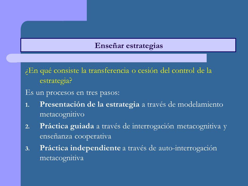 ¿En qué consiste la transferencia o cesión del control de la estrategia.