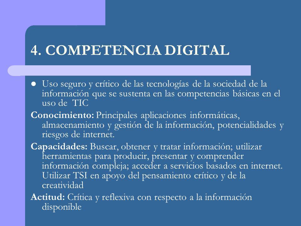 4. COMPETENCIA DIGITAL Uso seguro y crítico de las tecnologías de la sociedad de la información que se sustenta en las competencias básicas en el uso