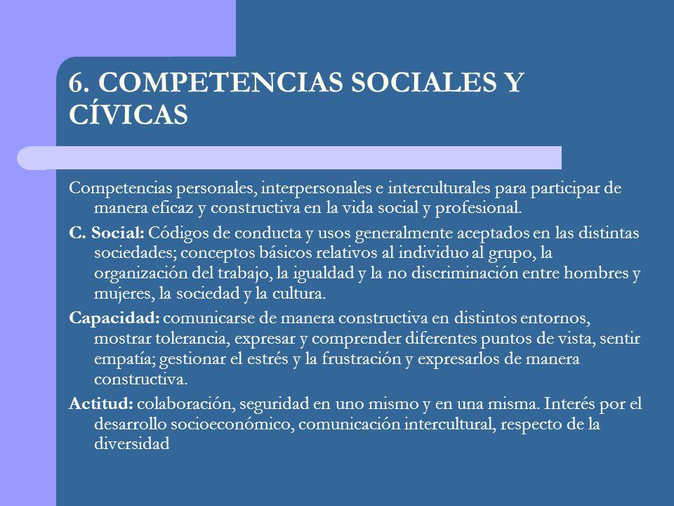 6. COMPETENCIAS SOCIALES Y CÍVICAS Competencias personales, interpersonales e interculturales para participar de manera eficaz y constructiva en la vi