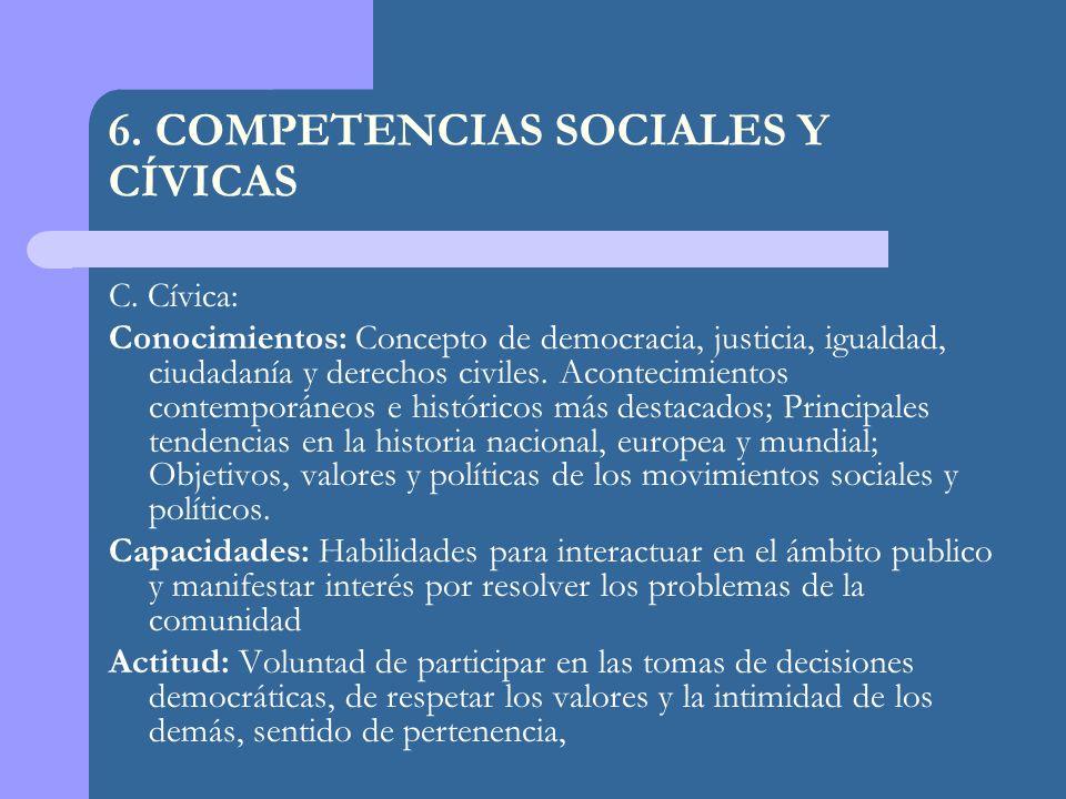 C. Cívica: Conocimientos: Concepto de democracia, justicia, igualdad, ciudadanía y derechos civiles. Acontecimientos contemporáneos e históricos más d