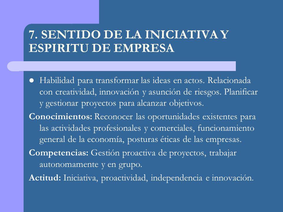 7.SENTIDO DE LA INICIATIVA Y ESPIRITU DE EMPRESA Habilidad para transformar las ideas en actos.