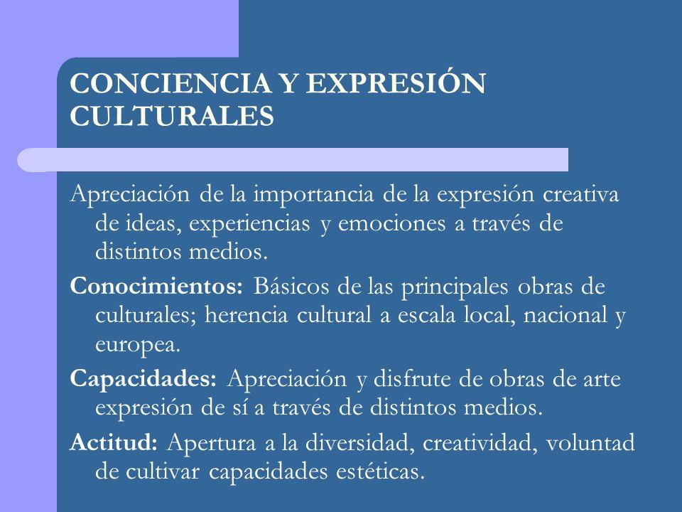CONCIENCIA Y EXPRESIÓN CULTURALES Apreciación de la importancia de la expresión creativa de ideas, experiencias y emociones a través de distintos medios.
