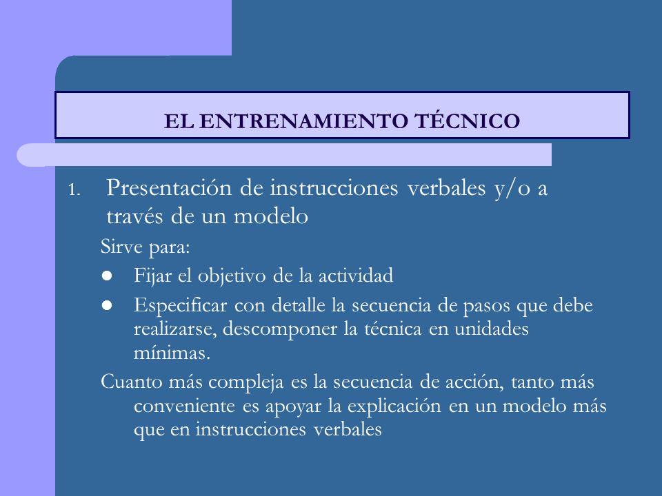 1. Presentación de instrucciones verbales y/o a través de un modelo Sirve para: Fijar el objetivo de la actividad Especificar con detalle la secuencia