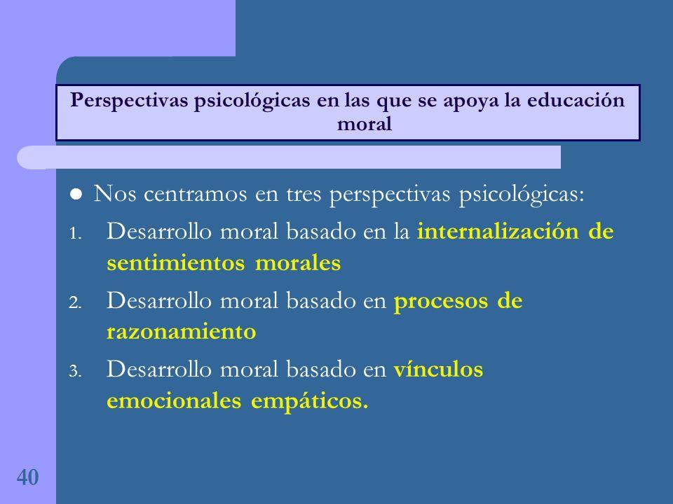 Nos centramos en tres perspectivas psicológicas: 1.