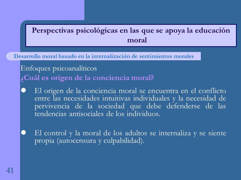41 Perspectivas psicológicas en las que se apoya la educación moral Enfoques psicoanalíticos ¿Cuál es origen de la conciencia moral.