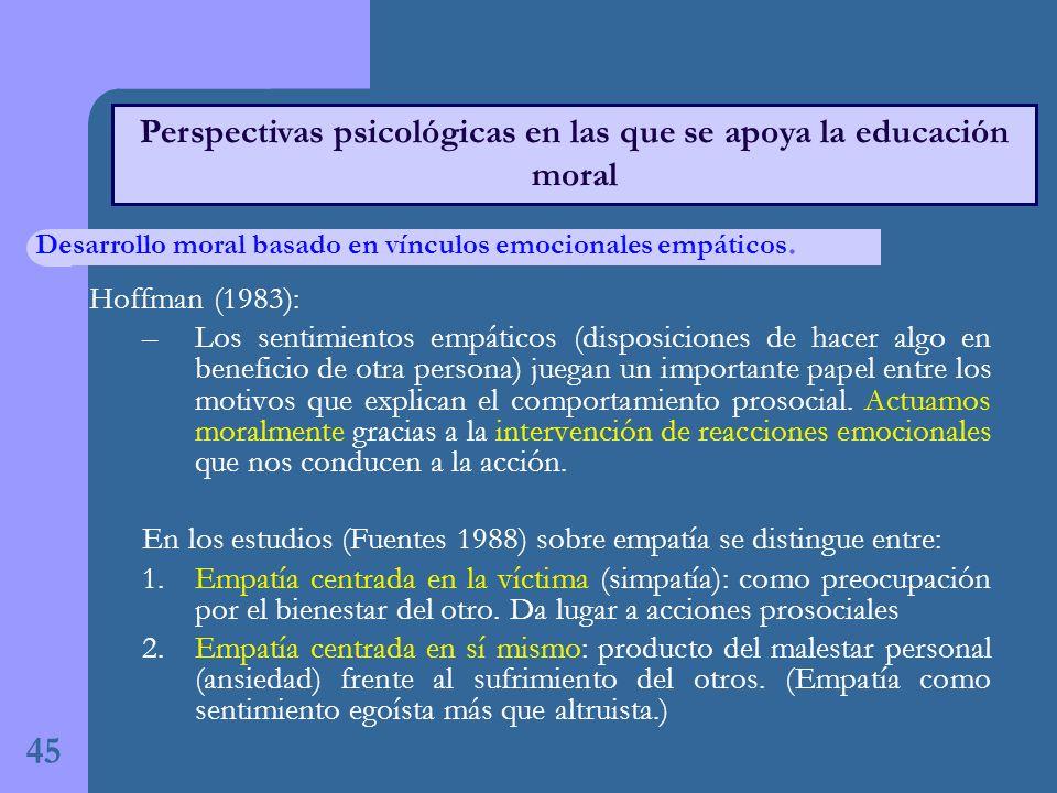 45 Perspectivas psicológicas en las que se apoya la educación moral Hoffman (1983): –Los sentimientos empáticos (disposiciones de hacer algo en beneficio de otra persona) juegan un importante papel entre los motivos que explican el comportamiento prosocial.