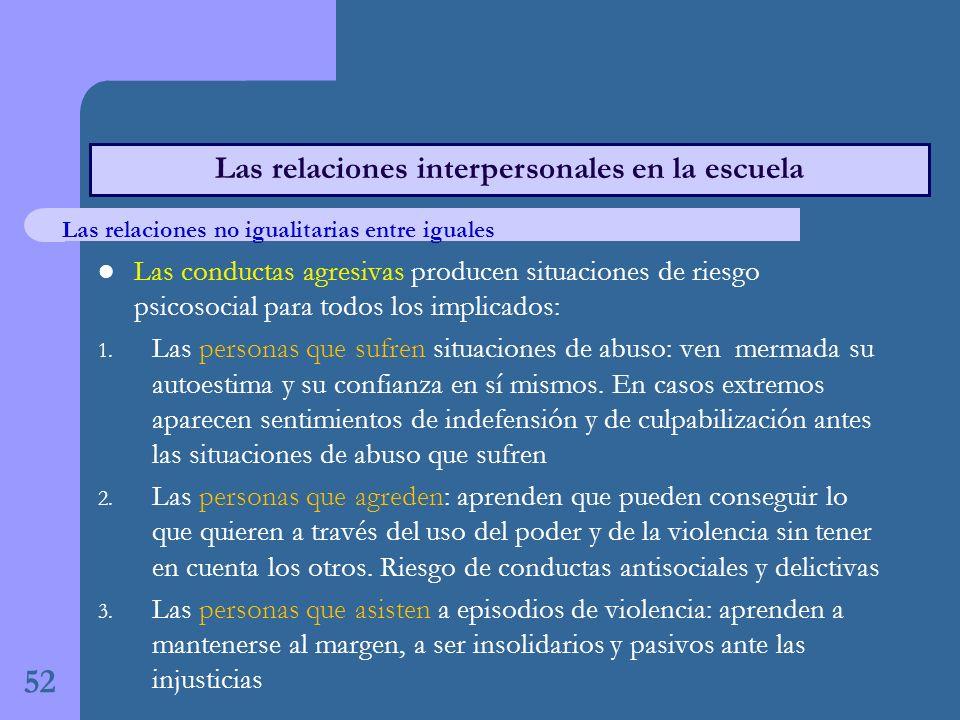 Las conductas agresivas producen situaciones de riesgo psicosocial para todos los implicados: 1.