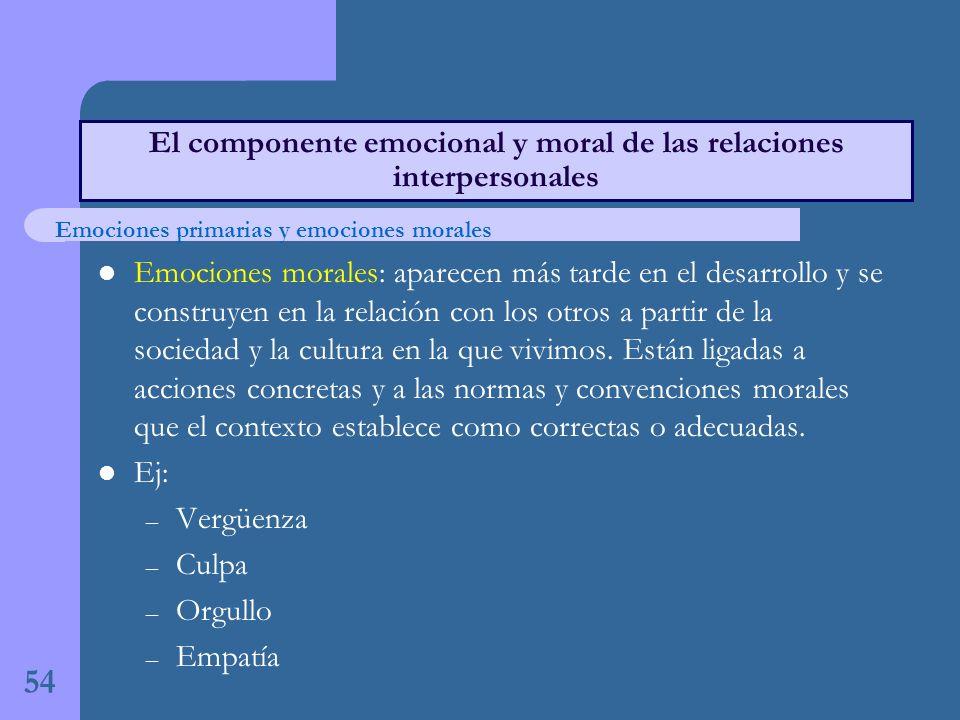 Emociones morales: aparecen más tarde en el desarrollo y se construyen en la relación con los otros a partir de la sociedad y la cultura en la que vivimos.
