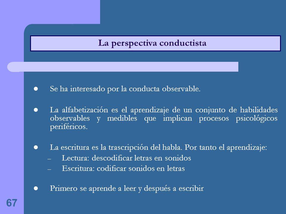 67 La perspectiva conductista Se ha interesado por la conducta observable.
