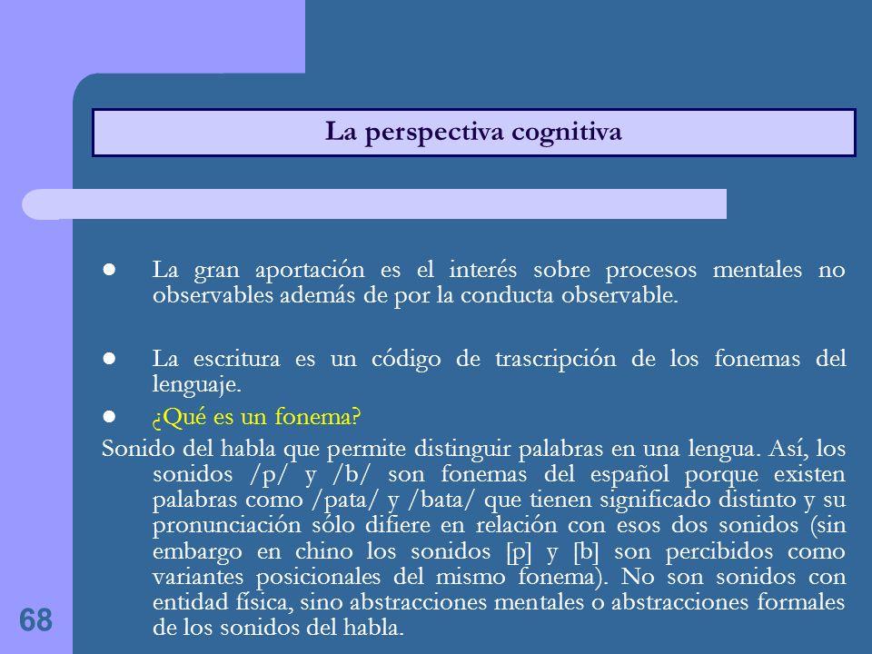 68 La perspectiva cognitiva La gran aportación es el interés sobre procesos mentales no observables además de por la conducta observable.