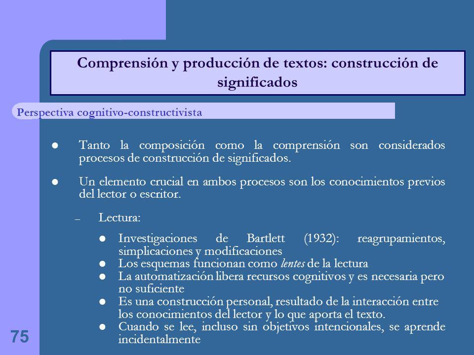 75 Comprensión y producción de textos: construcción de significados Tanto la composición como la comprensión son considerados procesos de construcción de significados.