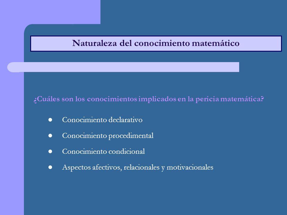 Naturaleza del conocimiento matemático ¿Cuáles son los conocimientos implicados en la pericia matemática.