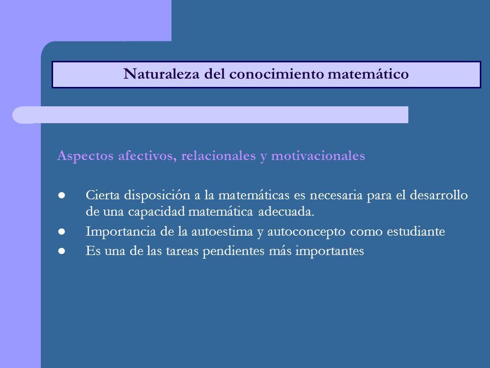 Naturaleza del conocimiento matemático Aspectos afectivos, relacionales y motivacionales Cierta disposición a la matemáticas es necesaria para el desarrollo de una capacidad matemática adecuada.