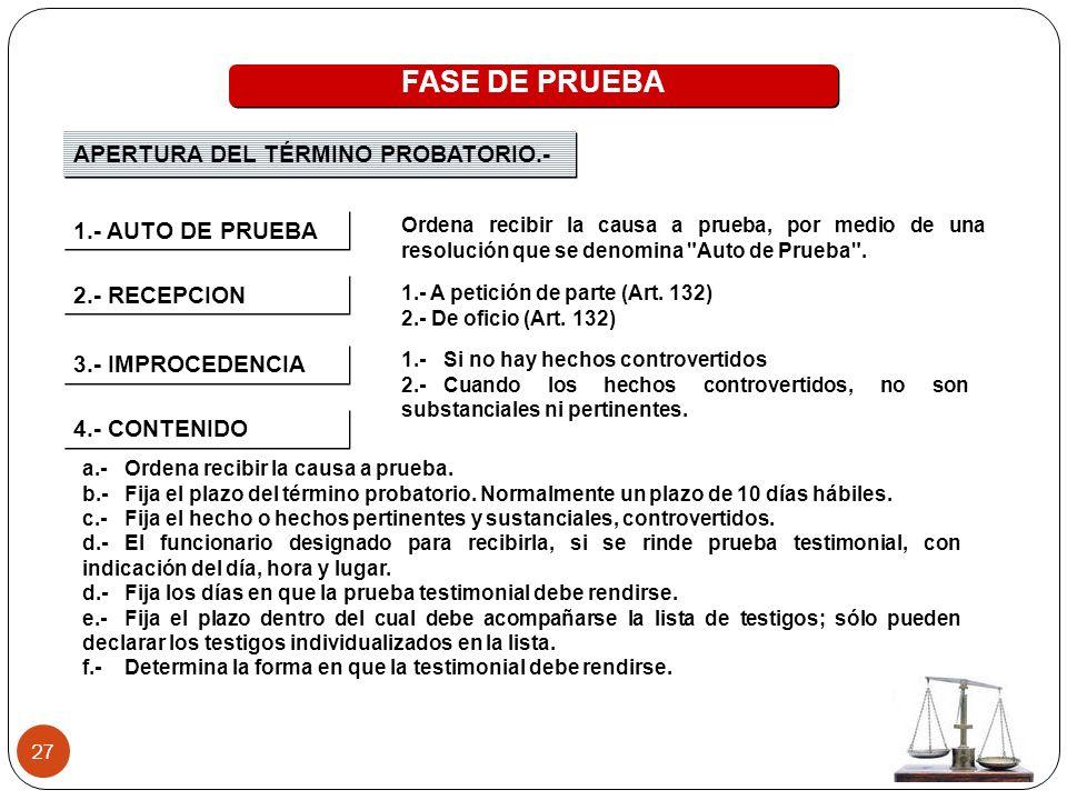 27 FASE DE PRUEBA APERTURA DEL TÉRMINO PROBATORIO.- 4.- CONTENIDO 2.- RECEPCION 1.- A petición de parte (Art. 132) 2.- De oficio (Art. 132) 3.- IMPROC