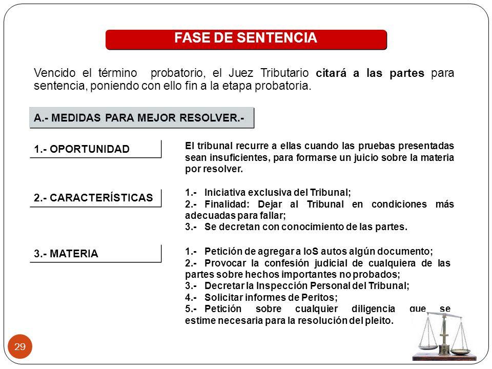29 FASE DE SENTENCIA A.- MEDIDAS PARA MEJOR RESOLVER.- 1.- OPORTUNIDAD El tribunal recurre a ellas cuando las pruebas presentadas sean insuficientes,