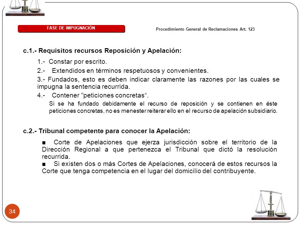 34 c.1.- Requisitos recursos Reposición y Apelación: FASE DE IMPUGNACIÓN Procedimiento General de Reclamaciones Art. 123 Si se ha fundado debidamente
