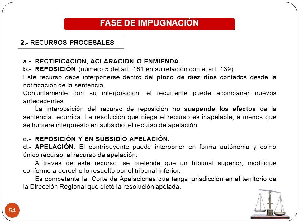 54 2.- RECURSOS PROCESALES a.- RECTIFICACIÓN, ACLARACIÓN O ENMIENDA. b.- REPOSICIÓN (número 5 del art. 161 en su relación con el art. 139). Este recur
