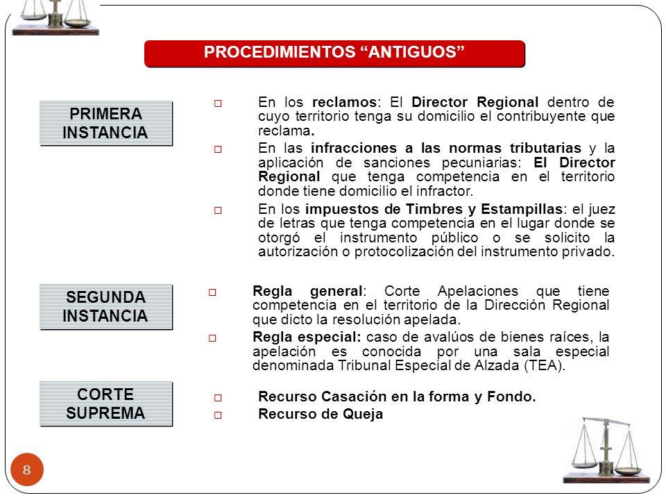 8 PROCEDIMIENTOS ANTIGUOS PRIMERA INSTANCIA SEGUNDA INSTANCIA En los reclamos: El Director Regional dentro de cuyo territorio tenga su domicilio el co