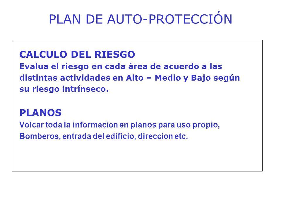 CALCULO DEL RIESGO Evalua el riesgo en cada área de acuerdo a las distintas actividades en Alto – Medio y Bajo según su riesgo intrínseco.
