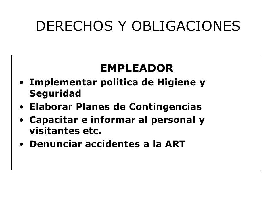 DERECHOS Y OBLIGACIONES EMPLEADOR Implementar politica de Higiene y Seguridad Elaborar Planes de Contingencias Capacitar e informar al personal y visitantes etc.