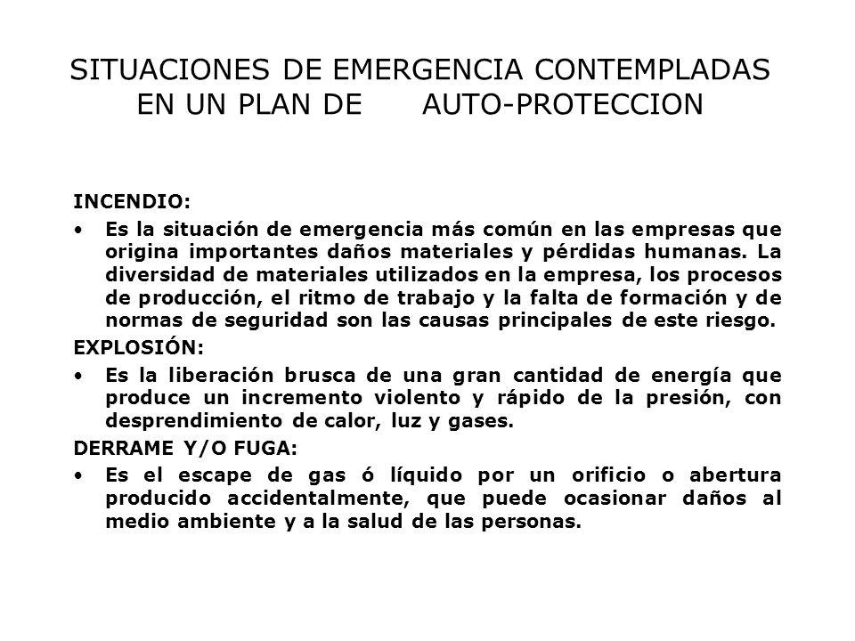 SITUACIONES DE EMERGENCIA CONTEMPLADAS EN UN PLAN DE AUTO-PROTECCION INCENDIO: Es la situación de emergencia más común en las empresas que origina importantes daños materiales y pérdidas humanas.