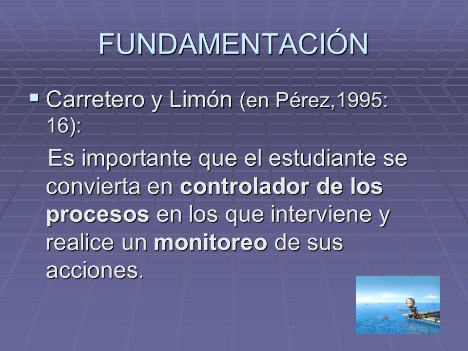 FUNDAMENTACIÓN Carretero y Limón (en Pérez,1995: 16): Carretero y Limón (en Pérez,1995: 16): Es importante que el estudiante se convierta en controlad