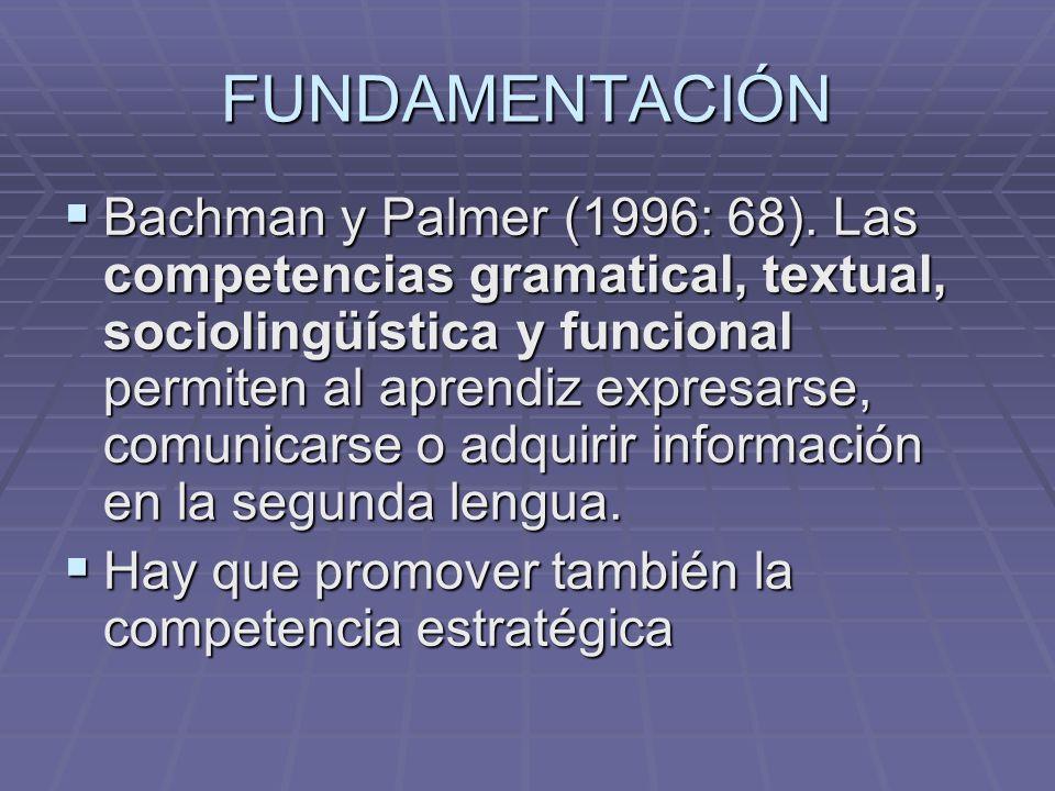 FUNDAMENTACIÓN Bachman y Palmer (1996: 68). Las competencias gramatical, textual, sociolingüística y funcional permiten al aprendiz expresarse, comuni