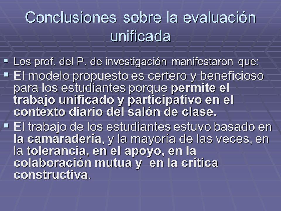 Conclusiones sobre la evaluación unificada Los prof. del P. de investigación manifestaron que: Los prof. del P. de investigación manifestaron que: El