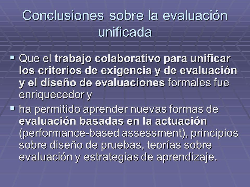 Conclusiones sobre la evaluación unificada Que el trabajo colaborativo para unificar los criterios de exigencia y de evaluación y el diseño de evaluac
