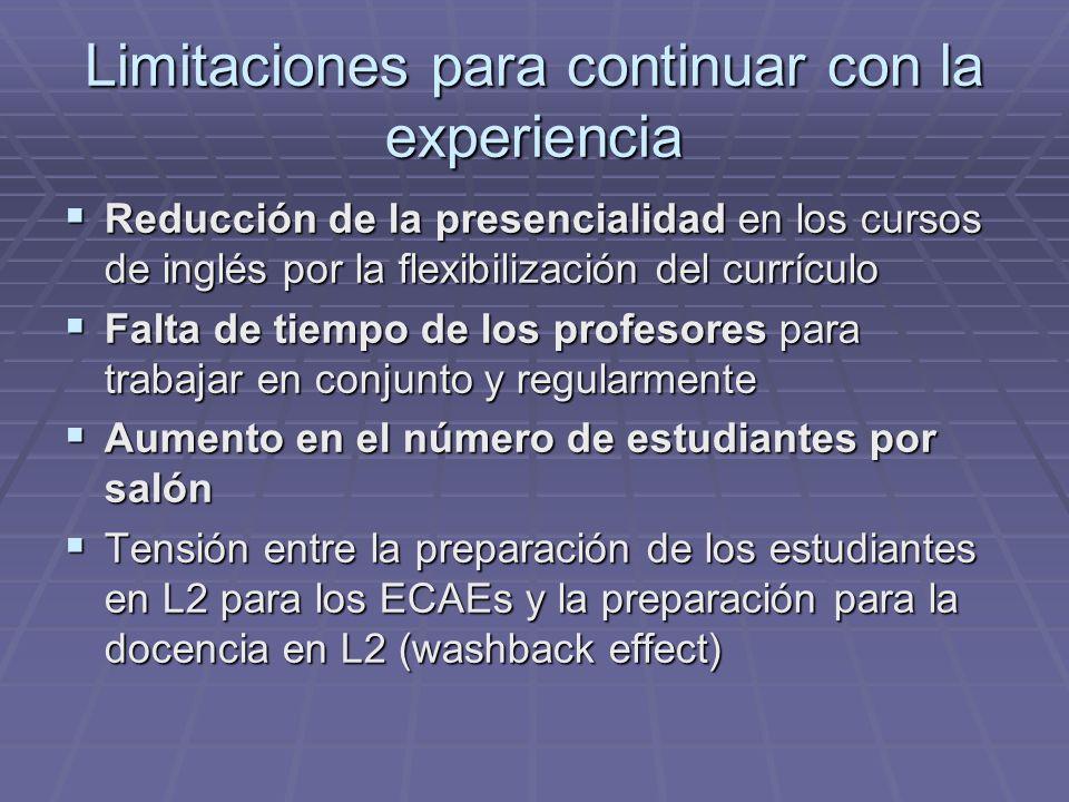 Limitaciones para continuar con la experiencia Reducción de la presencialidad en los cursos de inglés por la flexibilización del currículo Reducción d