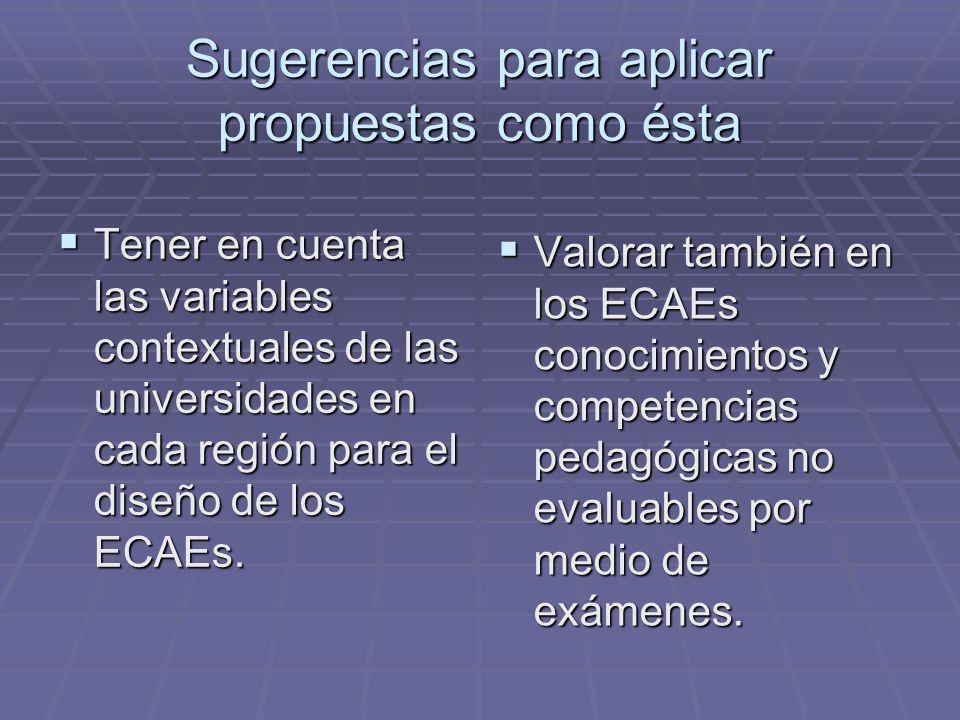 Sugerencias para aplicar propuestas como ésta Tener en cuenta las variables contextuales de las universidades en cada región para el diseño de los ECA