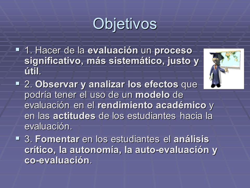 Objetivos 1. Hacer de la evaluación un proceso significativo, más sistemático, justo y útil. 1. Hacer de la evaluación un proceso significativo, más s