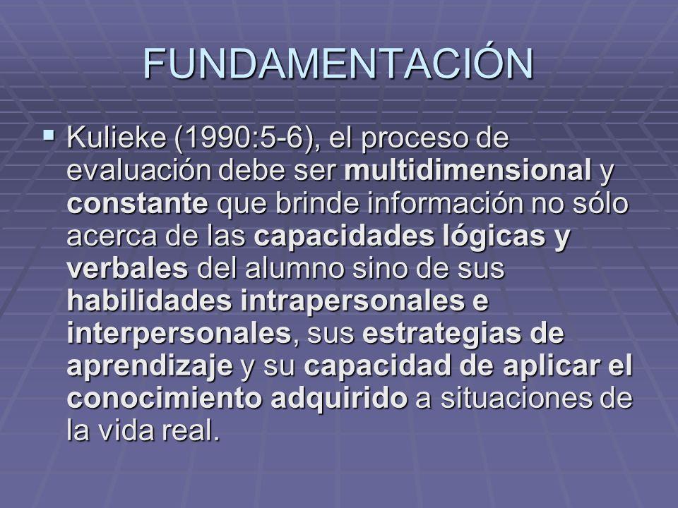FUNDAMENTACIÓN Kulieke (1990:5-6), el proceso de evaluación debe ser multidimensional y constante que brinde información no sólo acerca de las capacid