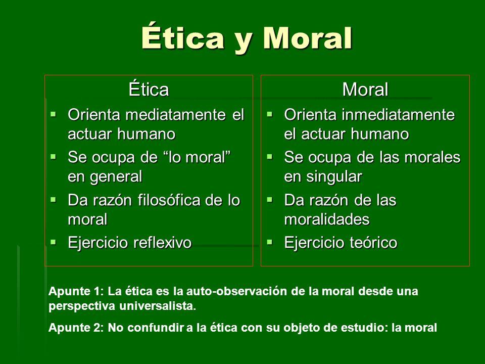Ética y Moral Ética Orienta mediatamente el actuar humano Orienta mediatamente el actuar humano Se ocupa de lo moral en general Se ocupa de lo moral e