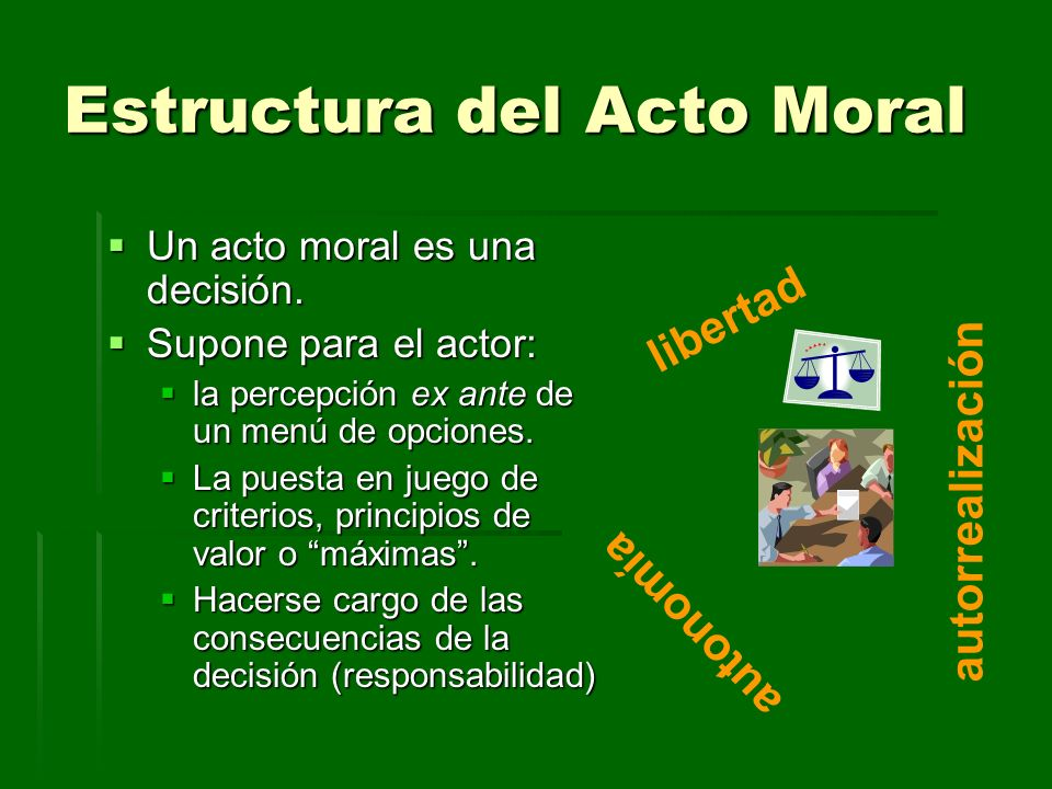 Estructura del Acto Moral Un acto moral es una decisión. Un acto moral es una decisión. Supone para el actor: Supone para el actor: la percepción ex a