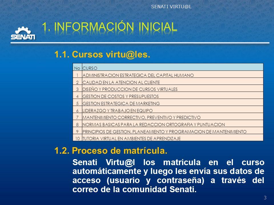 SENATI VRTU@L 14 Planifica, coordina y supervisa la creación de NRCs oportunamente.