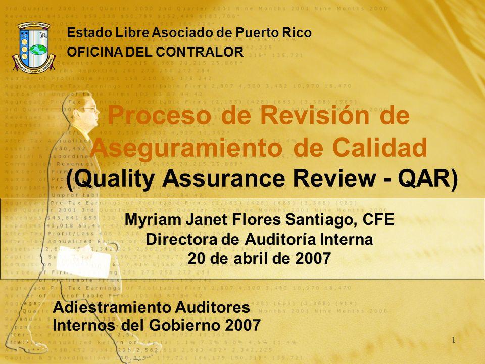 1 Myriam Janet Flores Santiago, CFE Directora de Auditoría Interna 20 de abril de 2007 Adiestramiento Auditores Internos del Gobierno 2007 Estado Libr