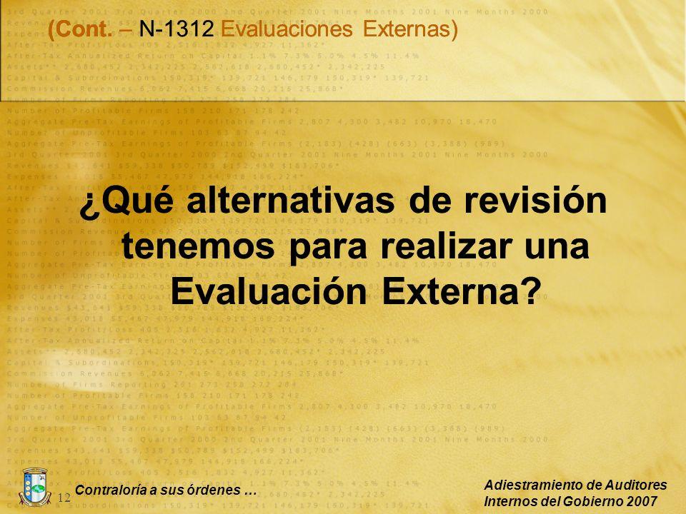 Contraloría a sus órdenes … Adiestramiento de Auditores Internos del Gobierno 2007 12 ¿Qué alternativas de revisión tenemos para realizar una Evaluaci