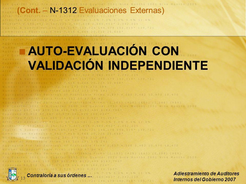 Contraloría a sus órdenes … Adiestramiento de Auditores Internos del Gobierno 2007 13 AUTO-EVALUACIÓN CON VALIDACIÓN INDEPENDIENTE (Cont. – N-1312 Eva