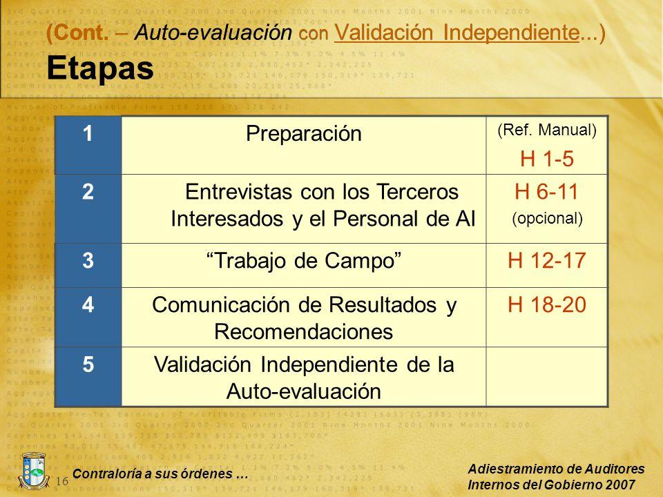 Contraloría a sus órdenes … Adiestramiento de Auditores Internos del Gobierno 2007 16 (Cont. – Auto-evaluación con Validación Independiente...) Etapas