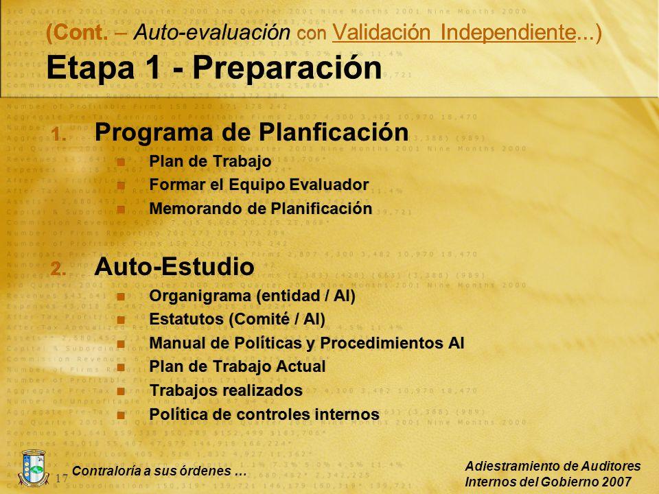 Contraloría a sus órdenes … Adiestramiento de Auditores Internos del Gobierno 2007 17 1. Programa de Planficación Plan de Trabajo Formar el Equipo Eva
