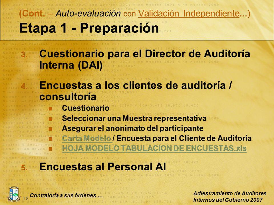 Contraloría a sus órdenes … Adiestramiento de Auditores Internos del Gobierno 2007 18 3. Cuestionario para el Director de Auditoría Interna (DAI) 4. E